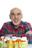 Senior with prescription bottles Stock Images
