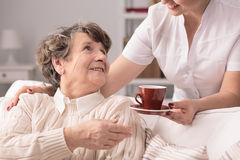 Senior and private carer Royalty Free Stock Images