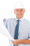 Senior professional architect male with helmet Royalty Free Stock Photo