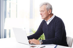 Senior professional man with laptop Royalty Free Stock Images