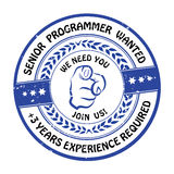 Senior programmer wanted. Experience required. - job offer Royalty Free Stock Photography