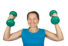 Senior pumping weights Royalty Free Stock Image