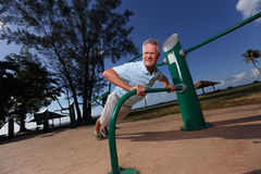Senior pushups in the park Royalty Free Stock Image