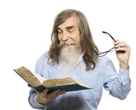 Senior reading book. Old man education, elder. With beard isolated white background Royalty Free Stock Images