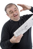 Senior Reads Newspaper Stock Photos
