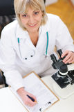 Senior researcher woman working with microscope Stock Image