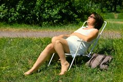 Senior Resting In The Sun Royalty Free Stock Photos