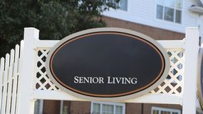 Senior Retirement Home. Senior living retirement home for elderly retired or semi retired men and women stock photo