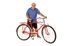 Senior and retro bike Royalty Free Stock Photography