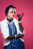 Senior rich woman royalty free stock photography