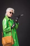 Senior rich woman stock photo