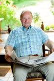 Senior  reading the newspaper Royalty Free Stock Image