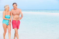 Senior Romantic Couple Walking In Beautiful Tropical Sea Royalty Free Stock Images