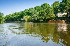 Senior rowing team. Hamburg, Germany - June 6, 2016 - Seniors rowing team on Alster lake royalty free stock images