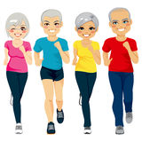 Senior Runner Group. Group of senior runner men and women running together doing exercise to stay healthy stock illustration