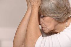 Senior sad woman Stock Image