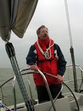 Senior sailor. During stormy and rainy weather royalty free stock photos
