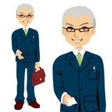 Senior Salesman. Giving business card and offering hand for handshake stock illustration