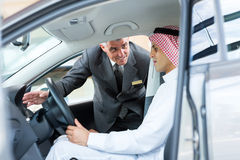 Senior salesman car Royalty Free Stock Image