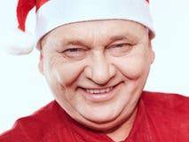Senior in Santa Claus hat Stock Image
