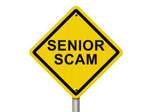Senior Scam Warning Sign. An road warning sign with words Senior Scam isolated on white Royalty Free Stock Images