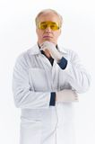 Senior scientist standing on white background. Royalty Free Stock Images