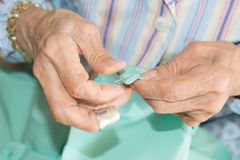 Senior sewing Stock Image