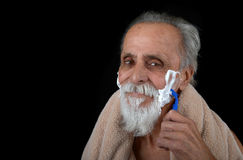 Senior Shaving Royalty Free Stock Photography