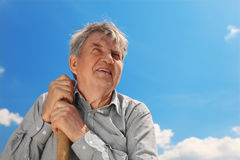 Senior in shirt with shove smiling Stock Photos