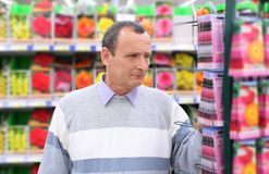 Senior in shop of seeds Stock Photography