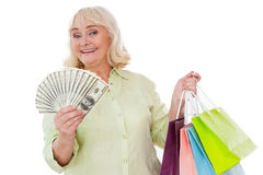 Senior shopaholic. Royalty Free Stock Images