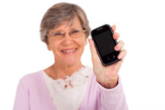 Senior showing message Royalty Free Stock Photography
