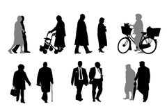 Senior  silhouettes,  collection Stock Image