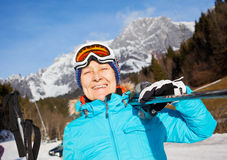 Senior skier woman. Ski, skier, winter - Closeup of smiling senior skier woman Royalty Free Stock Photography