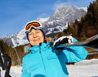 Senior skier woman. Ski, skier, winter - Closeup of smiling senior skier woman Stock Images