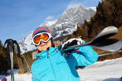 Senior skier woman. Ski, skier, winter - Closeup of smiling senior skier woman Royalty Free Stock Photos