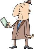 Senior with smart phone cartoon Stock Image