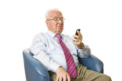 Senior with smartphone Stock Photos