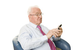 Senior with smartphone Stock Photography