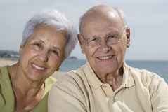 Senior smiling couple at the b. Senior smiling couple with sea in the background stock image
