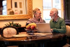Senior smiling happy couple using computer at home royalty free stock images