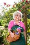 Senior woman standing with basket in garden Stock Photos
