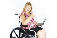 Senior Special Needs w/Laptop Royalty Free Stock Photo