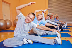 Senior sports class in health club royalty free stock photo