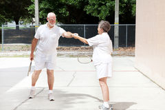 Senior Sportsmanship - Racquetball Royalty Free Stock Image
