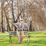 Senior standing up with walker in park Royalty Free Stock Images