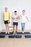 Senior step exercise Stock Photo