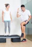 Senior step exercise Stock Photos