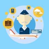 Senior Steward Airport Crew Icon. Flat Vector Illustration Stock Photos
