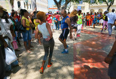 Senior street salsa in Havana royalty free stock images